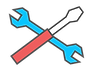 Tool icons to symbolize maintenance and repair services.