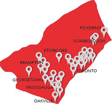 GTA & Peel Halton Region of clients
