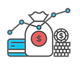 money and finance icons to represent Finance Analysis, Long Term Planning & Refinancing services.