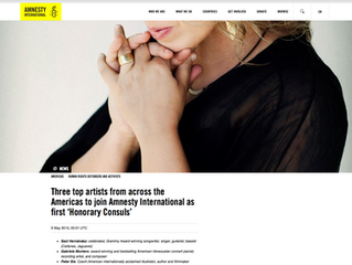 """GABRIELA MONTERO APPOINTED FIRST """"HONORARY CONSUL"""" BY AMNESTY INTERNATIONAL"""