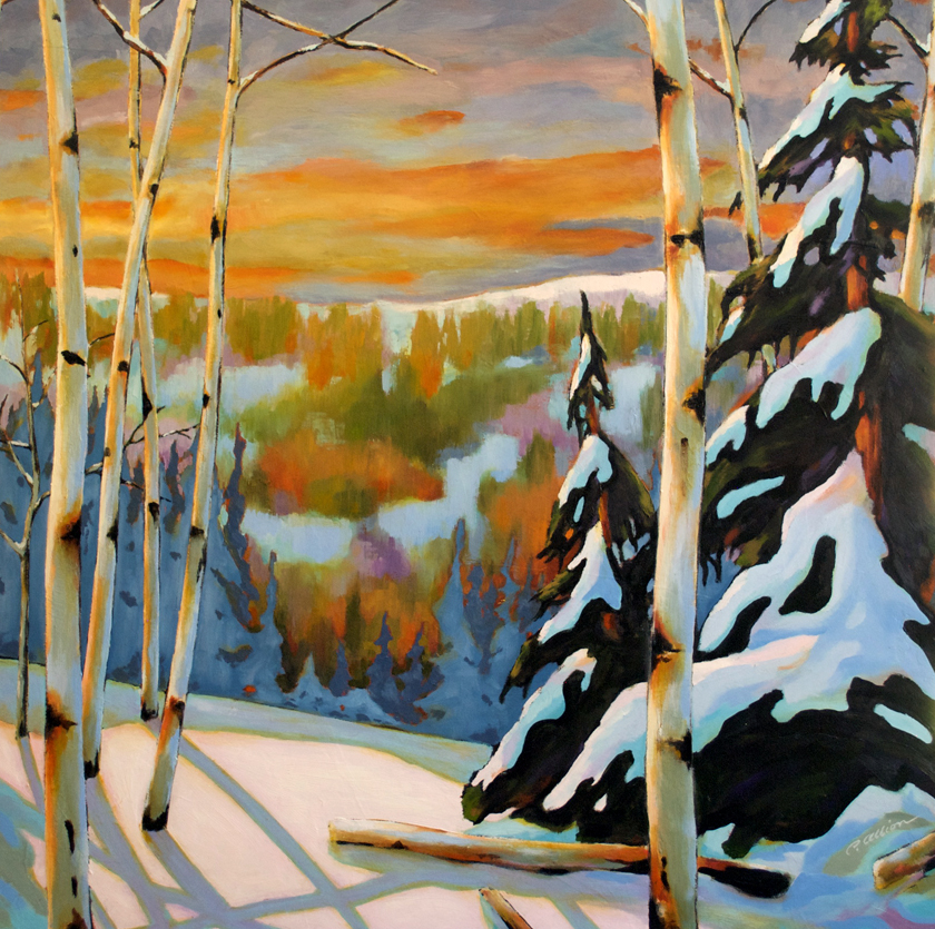 'sunset with the birches' p2