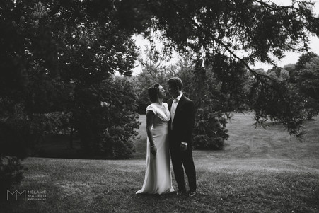 Bride and groom after wedding ceremony in Ottawa at the Dominion Arboretum. Photo by Melanie Mathieu, Ottawa Gatineau photographer.