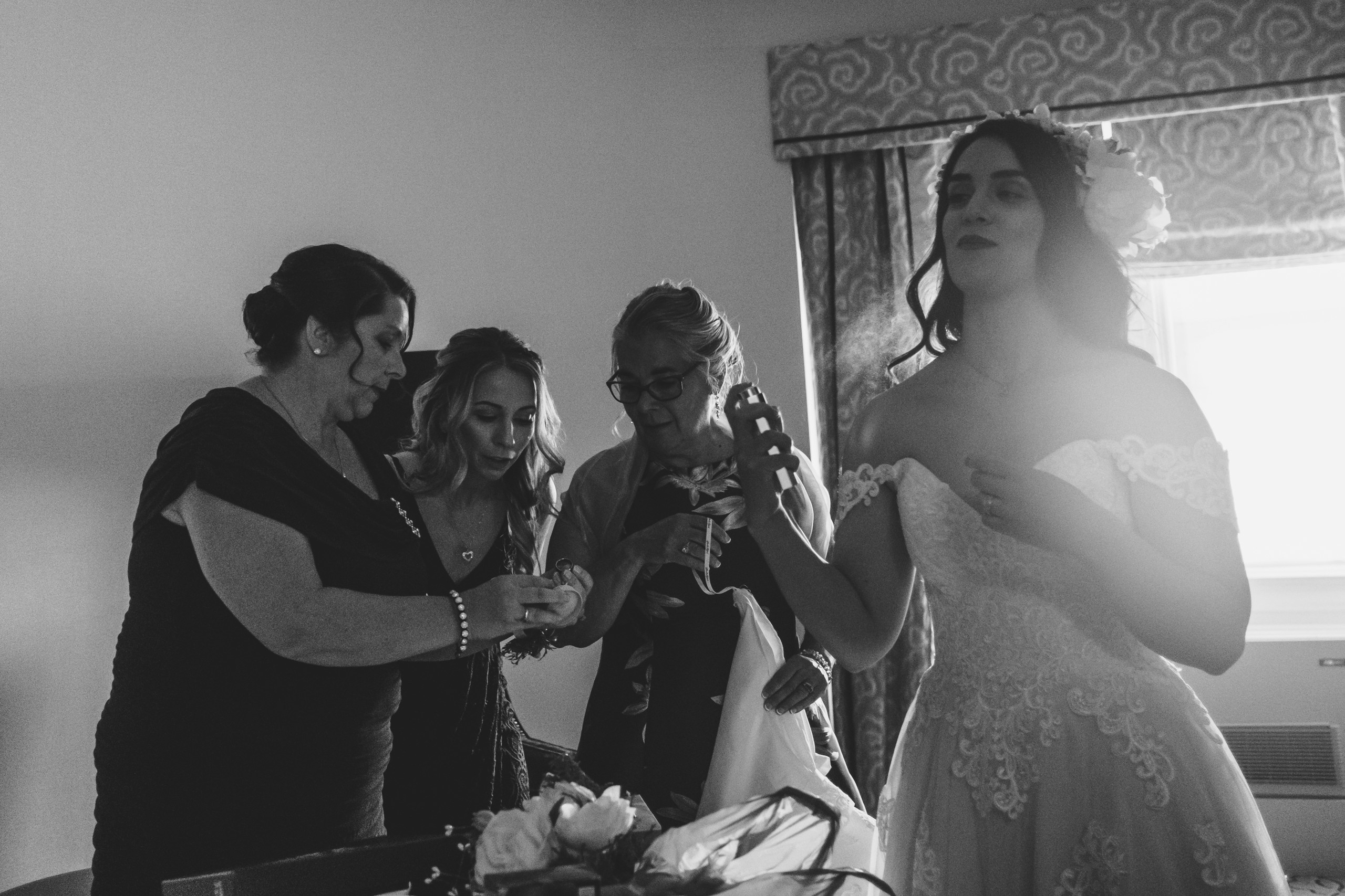 Bride getting ready at the Château Laurier before her intimate wedding ceremony downtown Ottawa.