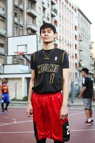 Jervin at the basket playground in Via Giovan Battista Sammartiri.
