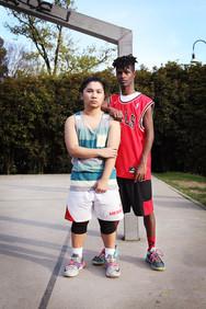 Daniel e Neil at basket playground in Parco Sempione.
