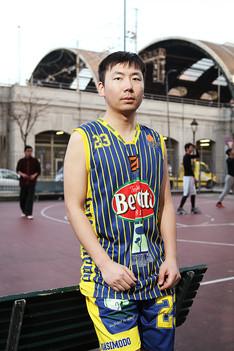 Jeren cao at the basket playground in Via Giovan Battista Sammartiri.