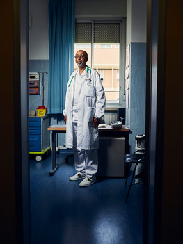 Fuad Amir Tarmum, chief  physician at the hospital in Borgo San Lorenzo in the Florentine region. Born and raised in Somalia he arrived in Florence to pursue his medical studies. Throughout his career he attained two specialisations and his curriculum is proof of a great commitment and involvement  in both Italy and Somalia. Undeniably, his remarkable efforts lead him to achieve his current chief position, in 2001, so making him the first black medical chief in Italy.