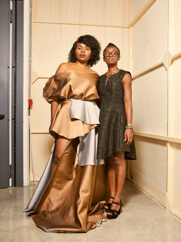 Michelle Francine Ngnmo is of Cameroonian origin, she arrived in Italy at a very young age and swiftly approached the world of communications. Ruth Akutu Maccarthy, is of Ghanaian origins and graduated in Obstetrics at the University of Bicocca. In 2015, driven by their passion for African fashion, they founded Afro Fashion, a foundation that promotes impactful intercultural initiatives particularly, by focusing on young fashion designers that are able to express, through their creations, Africa's fast paced changes.