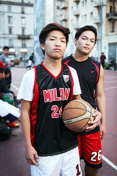 John and Lloyd at the basket playground in Via Giovan Battista Sammartiri.