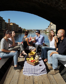 Sunday September 28, 2014 Florence. Lunch on a boat on the river arno.