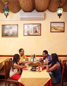 Sunday July 20, 2014 Milan. Lunch in ethiopian restaurant (owners).