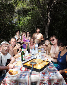 Sunday August 10, 2014 Ugento (Lecce).  Lunch in the pine forest.