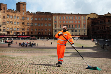 Peter, street cleaner. Piazza del Campo, Siena.