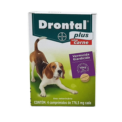 Drontal Plus Vermífugo Bayer até 10kg - 4 comprimidos