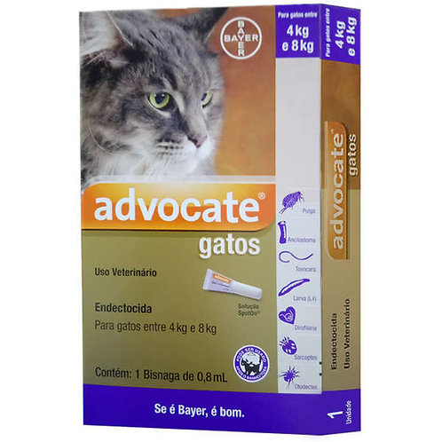 1 Bisnaga - Antipulgas Advocate Bayer para Gatos de 4 a 8kg