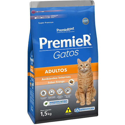 Premier Gatos Adultos Ambientes Internos Frango 1,5kg