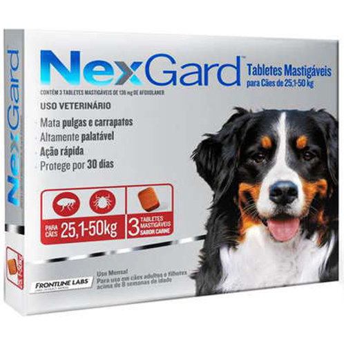 NexGard para Cães de 25,1 a 50 Kg - 3 Tabletes