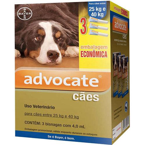 3 Bisnagas - Antipulgas Advocate Bayer para Cães de 25 a 40kg