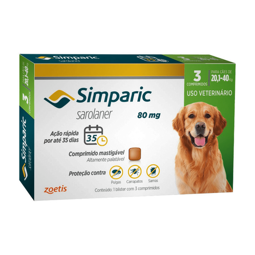 Simparic 80 mg para Cães 20,1 a 40kg - 1 comprimido