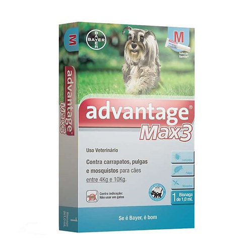 Advantage Max 3 Antipulgas e Carrapatos 1,0ml para Cães entre 4 e 10kg