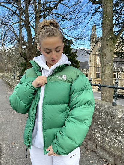 LIGHT FOREST GREEN TNF NUPTSE 700 WITH REAR CENTRE LOGO (MENS S // WOMENS M)