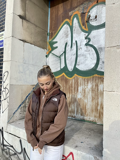 CHOCOLATE BROWN TNF GILLET 700 (WOMENS S)