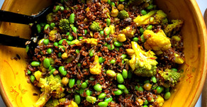 Curry Roasted Cauliflower and Red Rice Salad