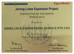 Jurong Lubes Expansion Project Contractor of The Month