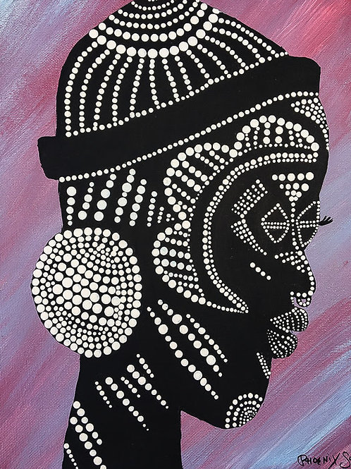 African Mask Woman on canvas