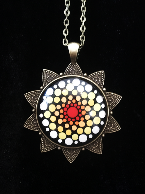 Hand Painted Glass Mandala Necklace
