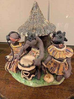 Sculpture: Traditional Village Music vs. Modern Music