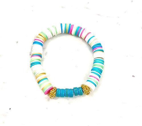 Multicolor Turquoise Stone Heishi Bracelet