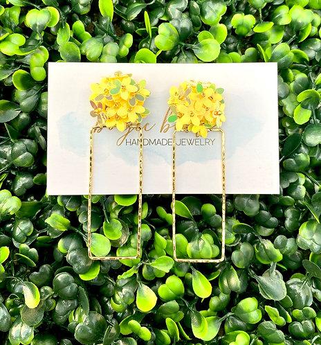 Yellow Sequin Flower Earrings