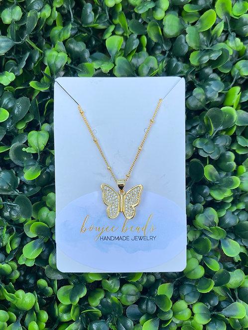 Pavè Butterfly Necklace