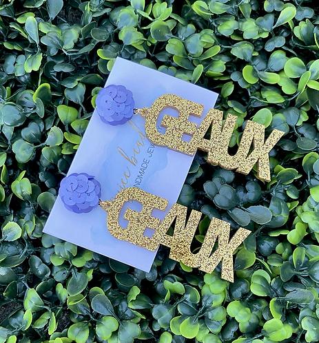 Geaux Earrings - Gold & Lavender