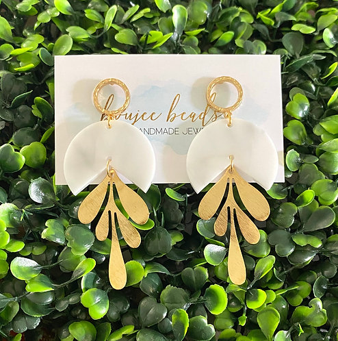 The Dayna Earrings — White Marble