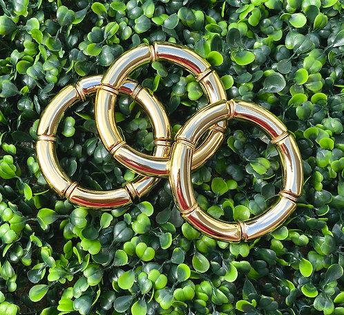 Acrylic Tube Stretch Bracelet - Gold