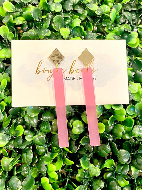 Frosted Pink Maddie Stick Earrings
