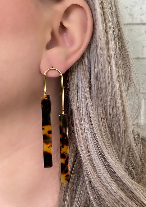 Brown Tortoise Maddie Double Stick Earrings