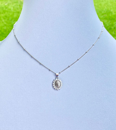 Pavè Mary Necklace - Silver