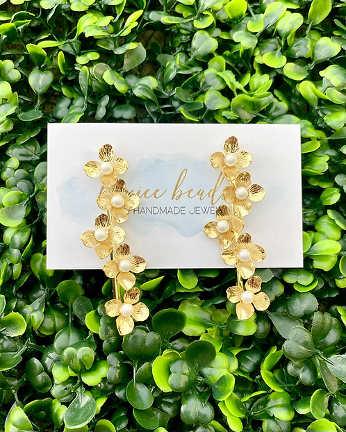 Pearl & Floral Earrings