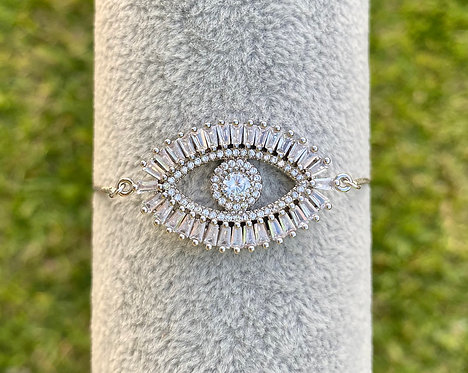 Silver Pavè Eye Bracelet