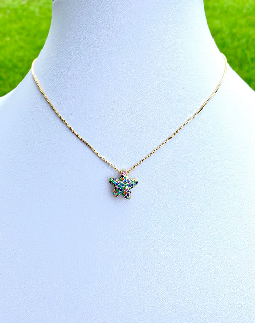 Rainbow Star Necklace - Gold