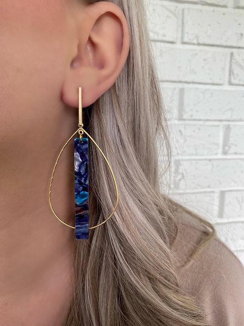 Blue Watercolor Maddie Hoop Earring