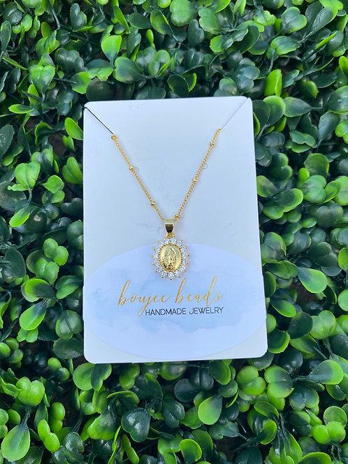 Pavè Mary Necklace - Gold
