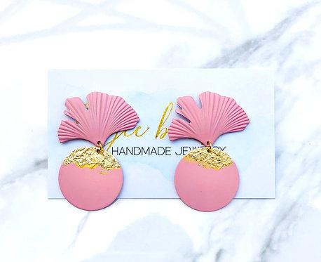 Fan Petal Earrings - Pink