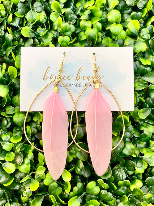 Lily Feather Hoop Earrings - Light Pink
