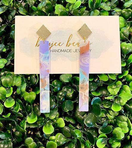 Lavender Swirl Stick Earrings