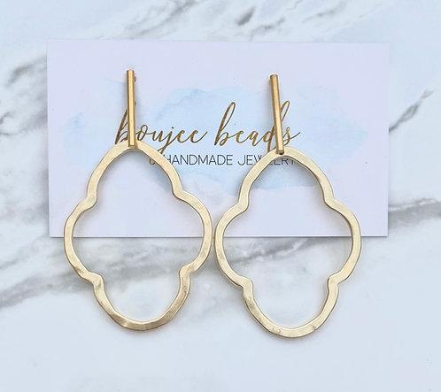 Matte Gold Quatrefoil Earrings