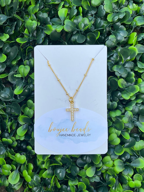 Crystal Clear Mini Cross Pendant Necklace